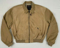 FACONNABLE suede leather tan microfiber water repellant bomber jacket sz large