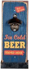 """Metall-Flaschenöffner auf Vintage Holzbrett mit Auffangebehälter """"Ice Cold Beer"""""""