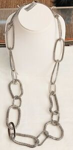 NEW Beautiful Long Chico's Necklace with Mesh Links & Shiny Metal Links NWT