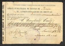BILL OF EXCHANGE PERU MEXICO SUBALTERNA DE RENTAS RECEIPT REVENUE STAMPS 1896