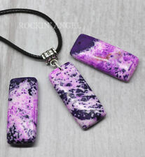 Purple Ocean Jasper Pendant Necklace Reiki Healing Stone Ladies Gift Natural