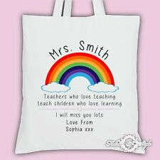 PERSONALISED Tote Bag Thank You Teacher School Gift Rainbow White