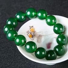 Fashion Men's Natural 14mm Green Jade Jadeite Gemstone Beads Bracelet Bangle