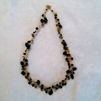 Gold Tone Black & Gold Beaded Wire Work Statement Necklace