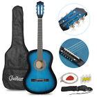 """Beginner Package Guitar Kids Musical Gift 38"""" BLUE Acoustic Guitar Starter Child"""