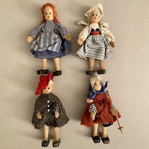 Vintage Holz Puppen Sammlung 4 Mädchen 11-12cm Spielzeug Puppenstube Deko ALT ✅