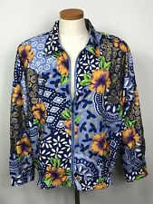 Andy Johns Womens Jacket Size Medium Floral Lined Zippered Front Long Sleeves