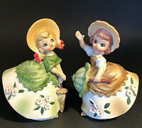 "VINTAGE LEFTON BLOOMER GIRL FIGURINES WITH PARASOLS  5""  SET OF 2"