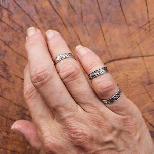 Sterling Silver 925 - Pinkie Midi Ring - Art Nouveau Pattern - Tiny Sizes DEFGHI