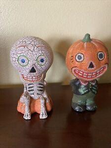 "2 Retro Style Halloween Jack O Lantern Pumpkin & Skeleton Bobbleheads 8"" Tall"