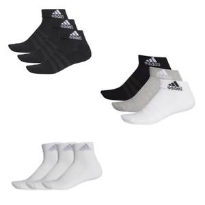 Adidas Cushioned Ankle Socks 3 Pairs Mens Womens Sports Cotton Black White Grey
