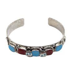 Zuni Handmade Sterling Silver Turquoise & Coral Snake Bracelet - Effie Calavaza