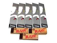 5 X SILVER SLIM KING SIZE SWAN THIN CIGARETTE PAPERS & 3 X RAW FILTER ROACH TIPS