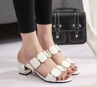 Hot Sale Womens Sandals Summer Block Heels Open Toe Slippers Fashion Mules Shoes