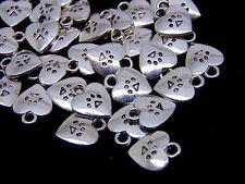 40 Pcs - Tibetan Silver Heart Paw Print Charms Jewellery Craft Pet Animal U49