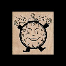 VINTAGE ALARM CLOCK Rubber Stamp Smiley Face Clock With Arms and Legs New