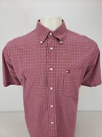 Tommy Hilfiger Men's Casual Shirt Red Plaid Short Sleeve L 50in Chest Flag Logo