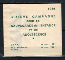 1956 - Carnet de 10 vignettes 100 Francs - UNAR-Campagne Sauvegarde de l'enfance