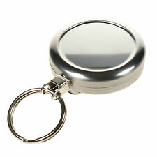 Heavy Duty Retractable Silver Key Chain Holder Reel Keyring - ID Clip Badge