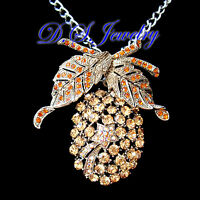 Colourful Austrian Crystal Rhinestones Pineapple Brooch / Necklace 2 way use