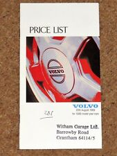 1989-90 VOLVO RANGE PRICE LIST - 240 740 760 480 440 340 GLT GLE GL SE Turbo D