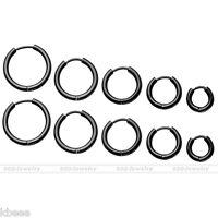 Men Women Black Stainless Steel Tube Hoop Huggie Ear Helix Sleeper Stud Earrings