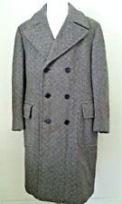 50R Vintage men coat wool tweed Aquascutum brown beige long double breast heavy