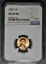 1939 1c LINCOLN WHEAT CENT, NGC CERTIFIED MS 66 RD,  SKU-RA23