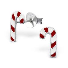 bébés filles ARGENT STERLING NOËL bonbon canne Boucles d'oreilles 925 en boîte