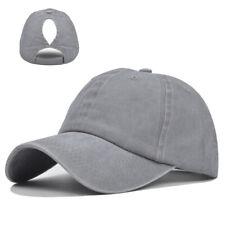 Women Girl Adjustable Baseball Caps Washed Retro Snap Back Sun Hats Ponytail Hat