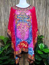 Plus Size Sheer Chiffon Embellished Kaftan Digital Printed Size 16-24 One Size