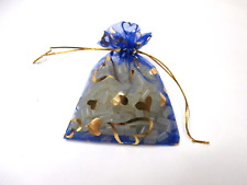 26 Organza Bags Blue with Gold Hearts 10cm x 14cm Party Favor Bags Jewelry Bags