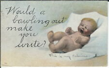 BA-310 Baby Bawling Out Write? 1907-1915 Golden Age Postcard Max Meadows, VA