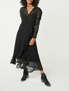 NEXT Black Spot Mesh Wrap Midi Dress Size 16 Petite BNWT RRP £42 Party Formal 💛