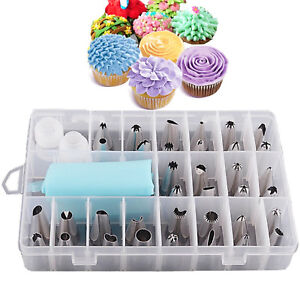24 PIECES ICING PIPING NOZZLE TOOL SET BOX – CAKE CUPCAKE SUGARCRAFT DECORATING