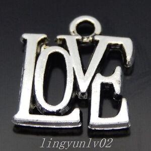 "40PCS Antique Silver Alloy Words ""Love"" Pendants Charms DIY Accessories 50417"