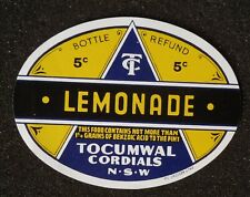 1950s Bottle Label Lemonade Tocumwal Cordials Tocumwal NSW Australia Denison Co