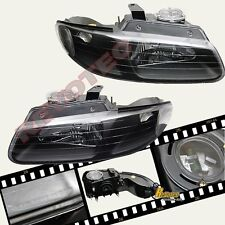1996-1999 Dodge Caravan Voyager Town & Country Black Headlights w/o Quad RH & LH