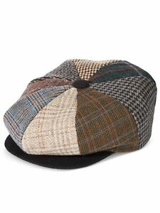 Stetson Mens Brown Printed Acrylic Fitted Newsboy Cap Newsboy Cap Cabbie Hat L