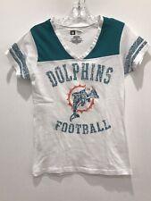 Miami Dolphins NFL Team Apparel V-Neck Short Sleeve Burnout White T-Shirt  M