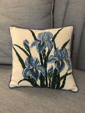 Vintage Iris Floral Needlepoint Pillow