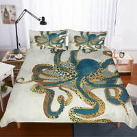 Octopus Blue Phnom 3D Quilt Duvet Doona Cover Set Single Double Queen King Print