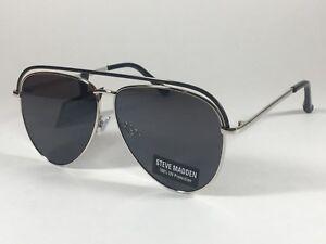 Steve Madden Pilot Aviator Sunglasses Top Bar Silver Black Gray Lens SM482116