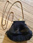 Vintage/ Victorian/ Steam Punk Black Beaded Evening Bag
