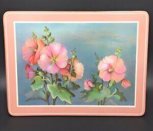 """PIMPERNEL 6 Placemats Pink Flower Design With Cork Backs 12"""" X 9"""" Floral"""