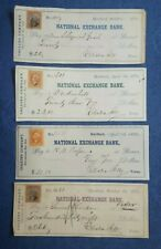 US CHECKS LOT OF 4 OLD VINTAGE CHEQUES & REVENUE STAMPS 1869-1873