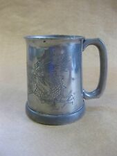 Vintage Chinese Pewter Tankard ~ Glass Bottom / Engraved Dragon ~ Sung Huak