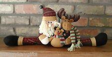 Santa & Reno mantelpiece Decoración-Tope De Puerta-Navidad-Tela