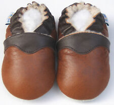 Soft Sole Leather Baby Infant Boy Girl SheepSkinChestnutBrown Shoes 18-24M
