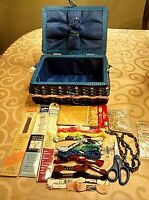 "Vintage Sewing Basket Notions 10"" x 7"" x 5"" + Notions Weaved in Blue"
